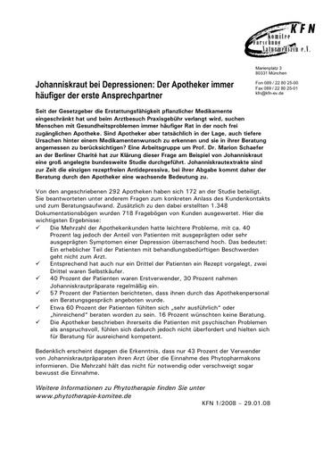 Johanniskraut bei Depressionen: Der Apotheker immer häufiger der erste Ansprechpartner