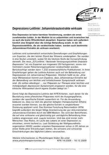 Depressions-Leitlinie: Johanniskrautextrakte wirksam