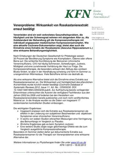 Venenprobleme: Wirksamkeit von Rosskastanienextrakt erneut bestätigt
