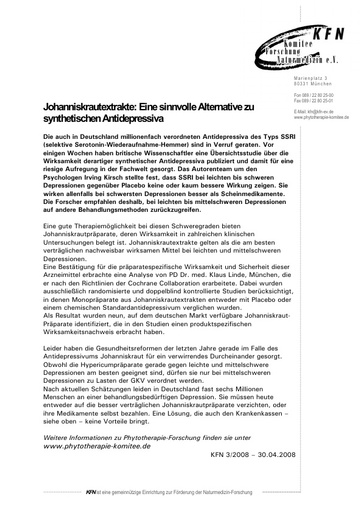 Johanniskrautextrakte: Eine sinnvolle Alternative zu synthetischen Antidepressiva