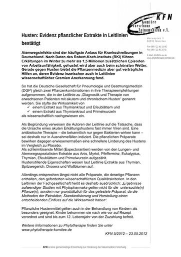 Husten - Evidenz pflanzlicher Extrakte in Leitlinien bestätigt