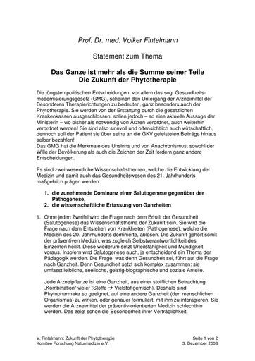 Prof  Fintelmann Statement Dez  2003