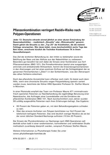 Pflanzenkombination verringert Rezidiv-Risiko nach Polypen-Operationen