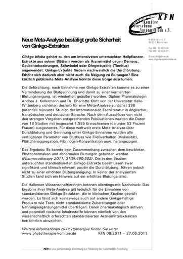 Neue Meta-Analyse bestätigt große Sicherheit von Ginkgo-Extrakten