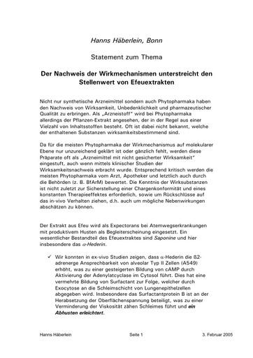Prof  Häberlein Statement Febr  2005