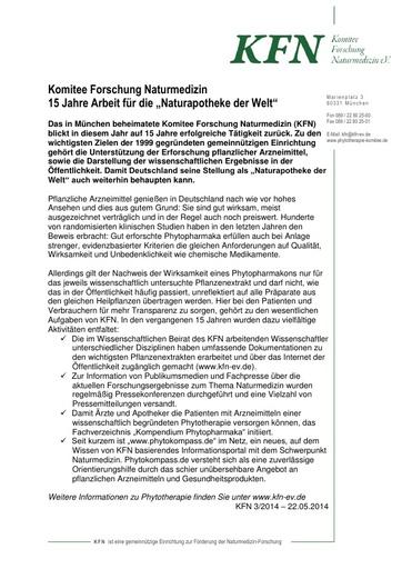"""Komitee Forschung Naturmedizin 15 Jahre Arbeit für die """"Naturapotheke der Welt"""""""