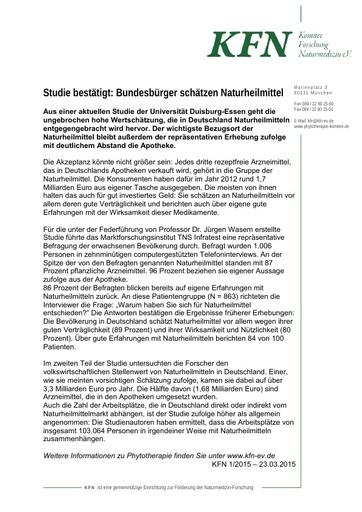 Studie bestätigt - Bundesbürger schätzen Naturheilmittel