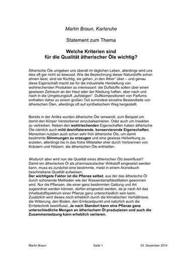 Dr Martin Braun Statement