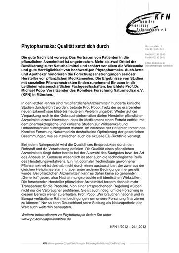 Phytopharmaka: Qualität setzt sich durch