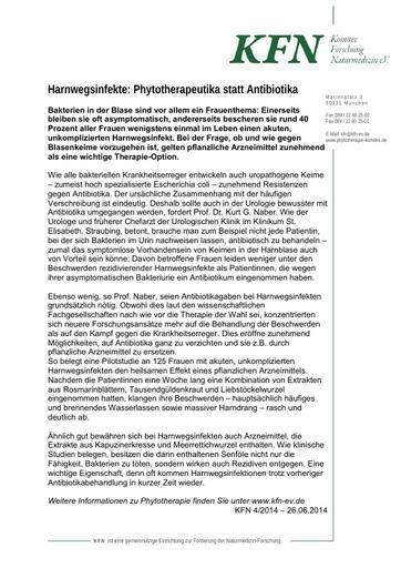 Harnwegsinfekte: Phytotherapeutika statt Antibiotika