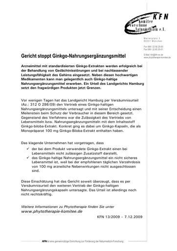 Gericht stoppt Ginkgo-Nahrungsergänzungsmittel