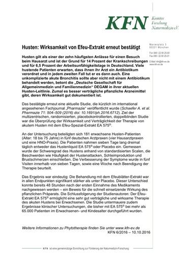 Husten: Wirksamkeit von Efeu-Extrakt erneut bestätigt