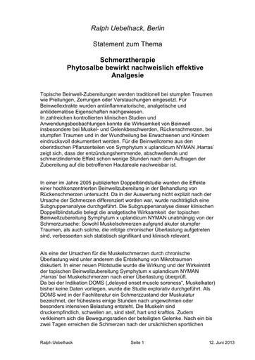 Prof Uebelhack Statement