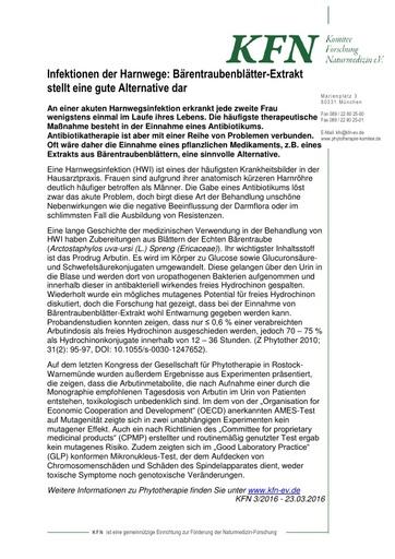 Infektionen der Harnwege: Bärentraubenblätter-Extrakt stellt eine gute Alternative dar