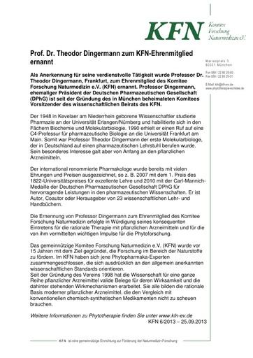 Prof. Dr. Theodor Dingermann zum KFN-Ehrenmitglied ernannt