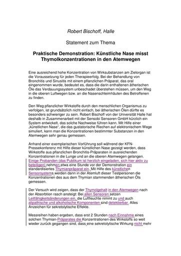 Robert Bischoff Statement Febr  2003