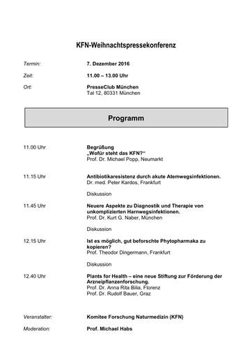 KFN Weihnachtspressekonferenz Programm 7 12 2016