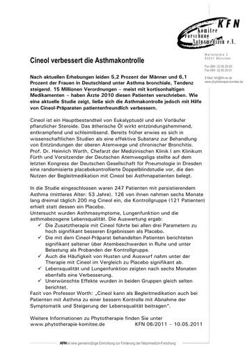 Cineol verbessert die Asthmakontrolle