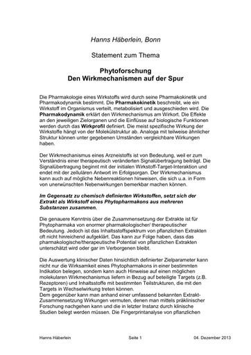 Prof Häberlein Statement 04 12 2013