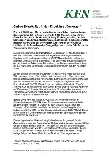 """Ginkgo-Extrakt: Neu in der S3-Leitlinie """"Demenzen"""""""