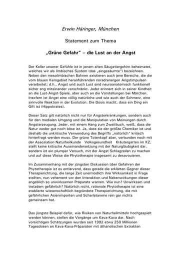 Dr  Häringer Statement März 2002