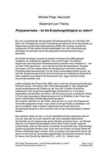 Prof  Popp Statement Okt  2003