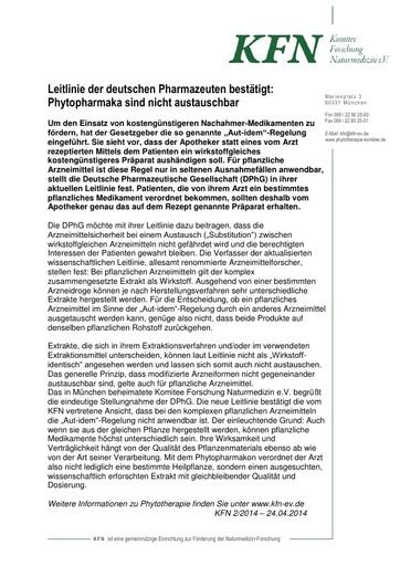 Leitlinie der deutschen Pharmazeuten bestätigt: Phytopharmaka sind nicht austauschbar