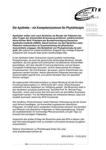 Die Apotheke – ein Kompetenzzentrum für Phytotherapie