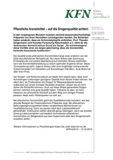 Pflanzliche Arzneimittel auf Drogenqualität achten