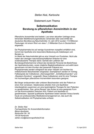 Dr Stefan Noe Statement 15 04 2015