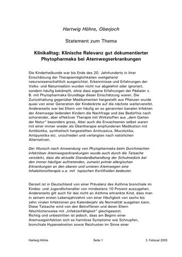 Dr  Höhre Statement Febr  2005