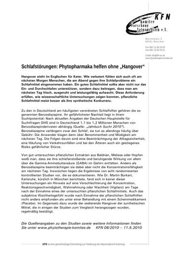 "Schlafstörungen: Phytopharmaka helfen ohne ""Hangover"""