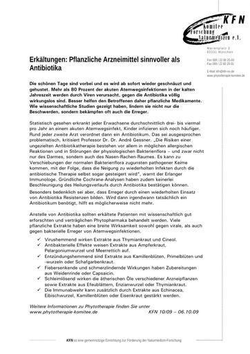 Erkältungen: Pflanzliche Arzneimittel sinnvoller als Antibiotika