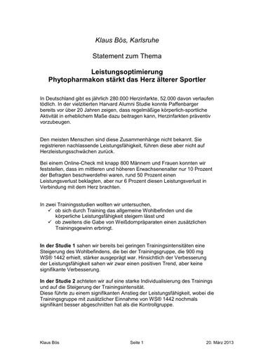 Statement Prof Bös PK 2013
