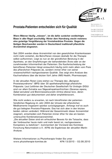 Prostata-Patienten entscheiden sich für Qualität