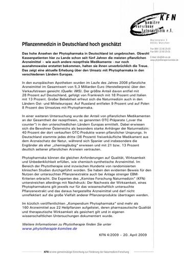 Pflanzenmedizin in Deutschland hoch geschätzt