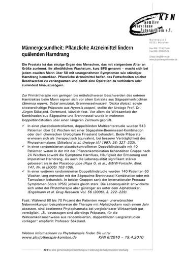 Männergesundheit: Pflanzliche Arzneimittel lindern quälenden Harndrang