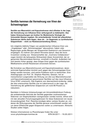 Senföle hemmen die Vermehrung von Viren der Schweinegrippe