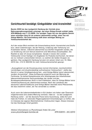 Gerichtsurteil bestätigt: Ginkgoblätter sind Arzneimittel